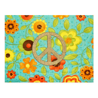 Colorful Girly Groovy Peace Floral Print Postcard