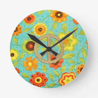 Colorful Girly Groovy Peace Floral Print Round Clock