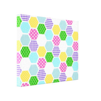Colorful girly honeycomb pattern canvas print