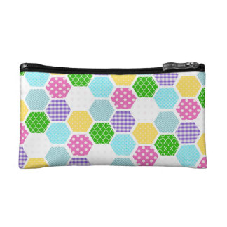 Colorful girly honeycomb pattern cosmetic bag