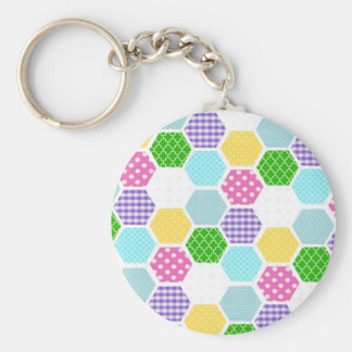 Colorful girly honeycomb pattern key chain