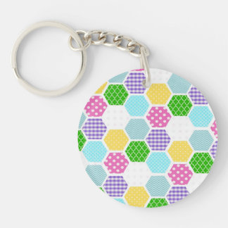 Colorful girly honeycomb pattern keychain
