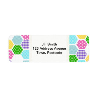 Colorful girly honeycomb pattern label