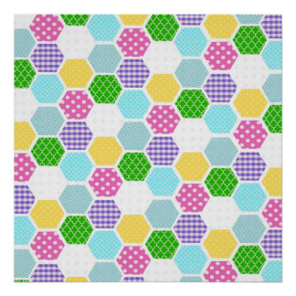 Colorful girly honeycomb pattern poster