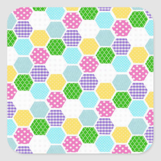 Colorful girly honeycomb pattern square sticker