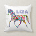 Colorful Girly Personalized Fantasy Horse Pillow