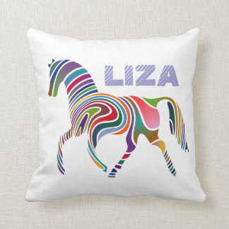 Colorful Girly Personalized Fantasy Horse Throw Pillow