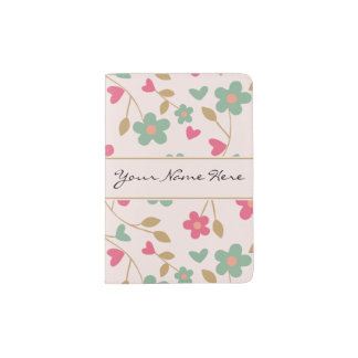 Colorful Girly Pink & Brown Floral Pattern Passport Holder
