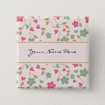 Colorful Girly Pink & Brown Floral Pattern Pinback Button