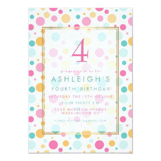 Colorful Girly Polka Dots Child Birthday Party Card
