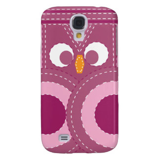 Colorful Girly Purple Stitched Owl Galaxy S4 Case
