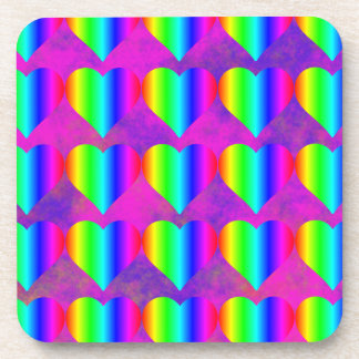 Colorful Girly Rainbow Hearts Fun Teen Pattern Coaster
