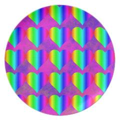Colorful Girly Rainbow Hearts Fun Teen Pattern Dinner Plate