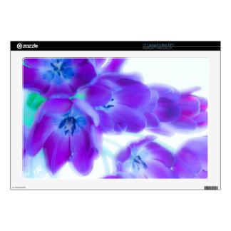 "Colorful, girly, romantic, purple tulips 17"" laptop skins"