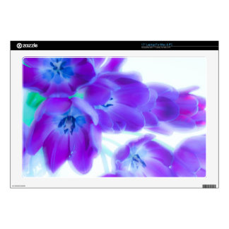 "Colorful, girly, romantic, purple tulips 17"" laptop decal"