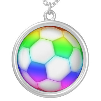 Colorful Girly Soccer Ball Silver Plated Necklace