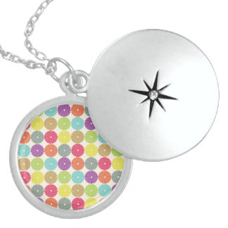 Colorful Girly Spring Pastel Circle Disks Pattern Necklace