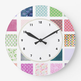Colorful girly squares pattern wall clock