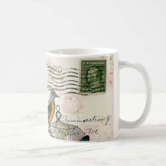 colorful girly white rose butterfly floral paris coffee mug