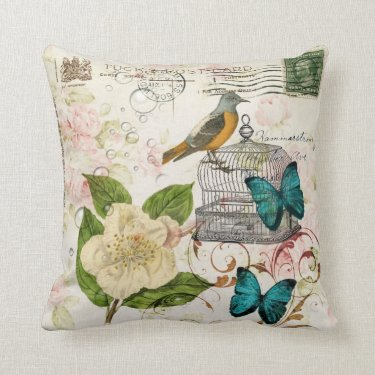 colorful girly white rose butterfly floral paris throw pillows