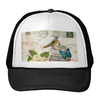 colorful girly white rose butterfly floral paris trucker hat