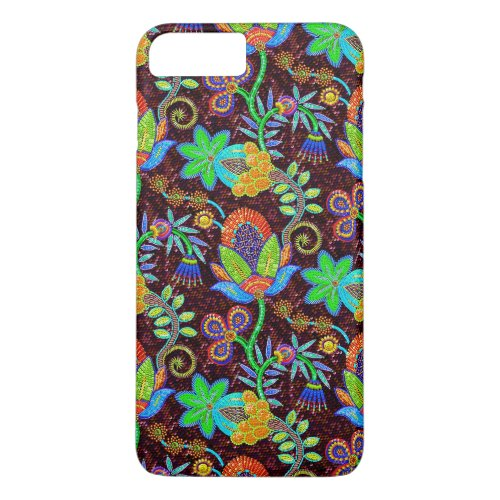 Colorful Glass Beads Look Retro Floral Design 2 Phone Case