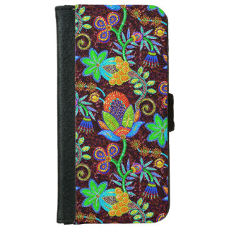 Colorful Glass Beads Look Retro Floral Design 2 iPhone 6/6s Wallet Case