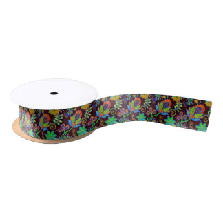 Colorful Glass Beads Look Retro Floral Design 2a Satin Ribbon