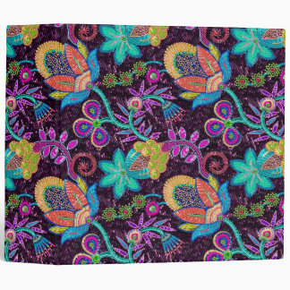 Colorful Glass Beads Look Retro Floral Design Binders
