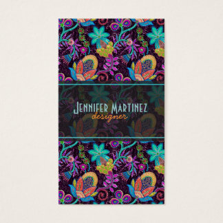 Colorful Glass Beads Look Retro Floral Design Business Card