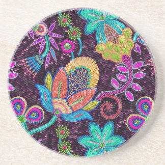Colorful Glass Beads Look Retro Floral Design Coasters