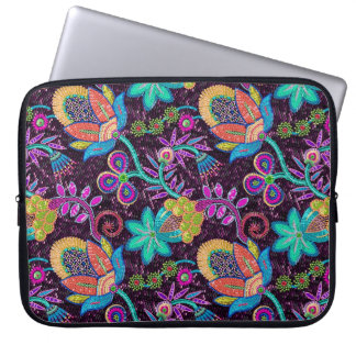 Colorful Glass Beads Look Retro Floral Design Computer Sleeve