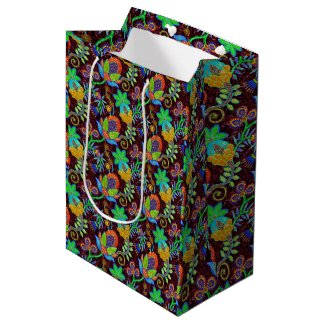 Colorful Glass Beads Look Retro Floral Design Medium Gift Bag