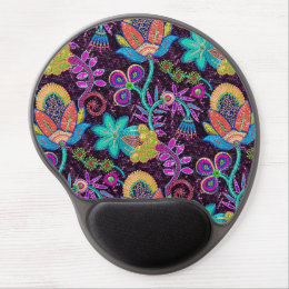Colorful Glass Beads Look Retro Floral Design Gel Mouse Pad