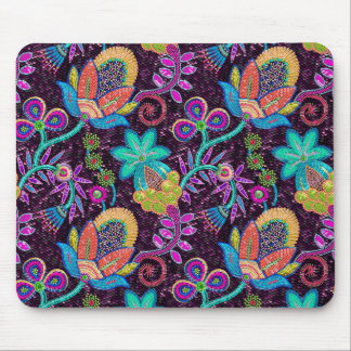 Colorful Glass Beads Look Retro Floral Design Mouse Pad