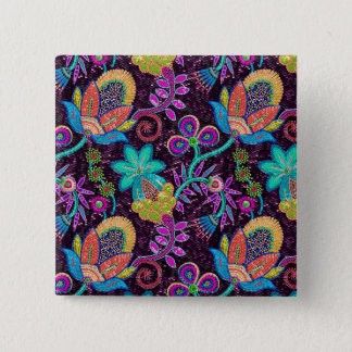 Colorful Glass Beads Look Retro Floral Design Pinback Button