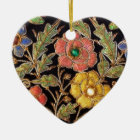 Colorful Glass Beads Vintage Floral Design Ceramic Ornament