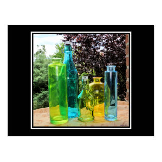 Colorful Glass Bottles Postcard