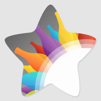 Colorful glass bottles star sticker