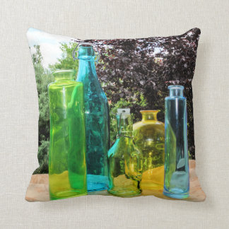 Colorful Glass Bottles Throw Pillow