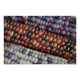 Colorful Glass Gem Corn on the Cob. Poster