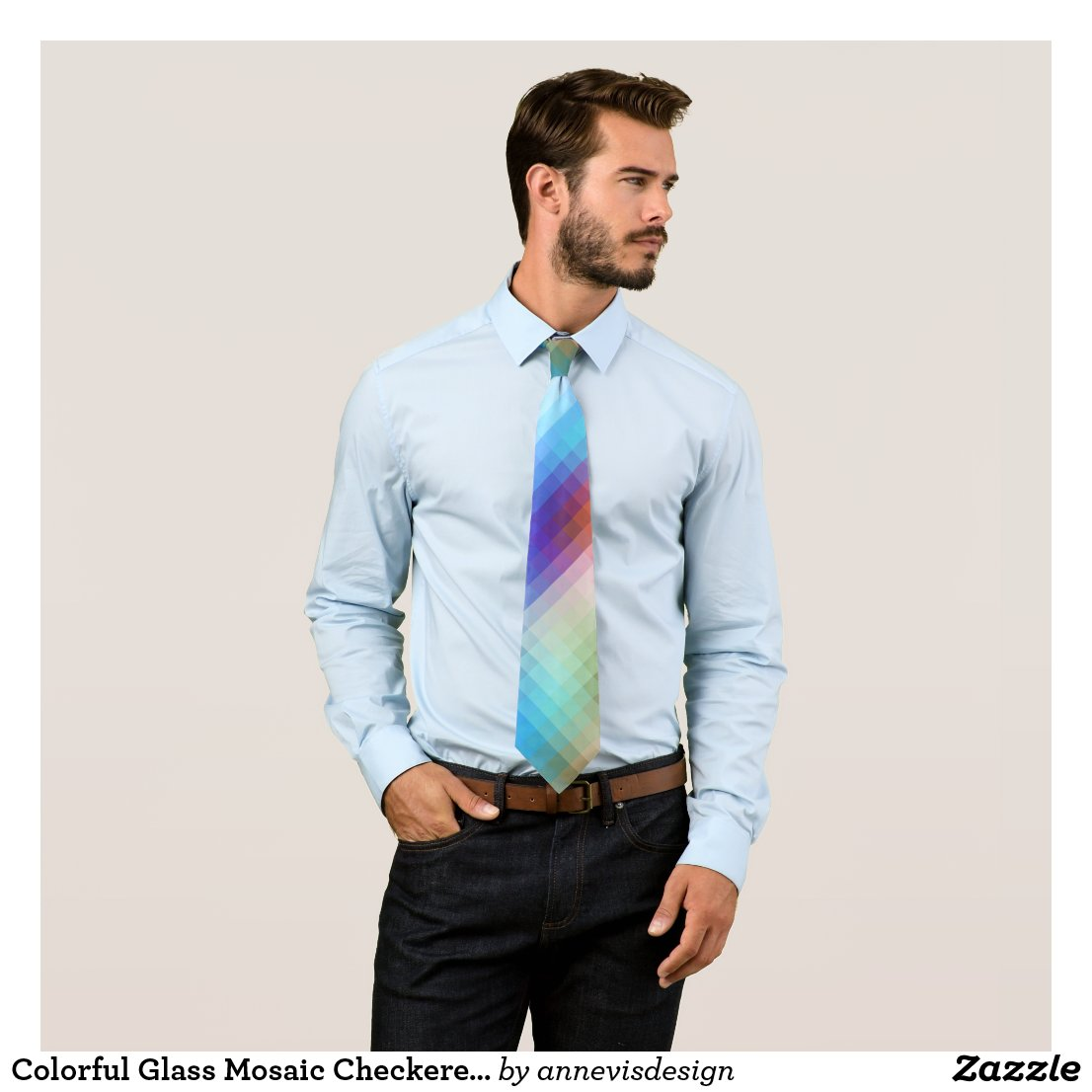 Colorful Glass Mosaic Checkered Tie