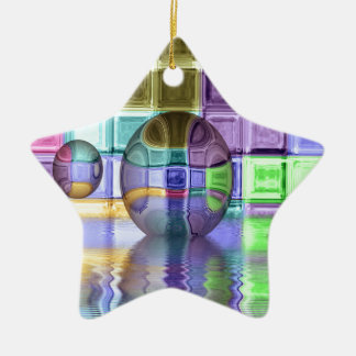 Colorful Glass Tile Worlds Ceramic Ornament