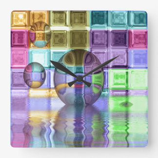 Colorful Glass Tile Worlds Square Wall Clock