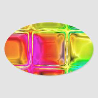 Colorful glass tiles oval sticker