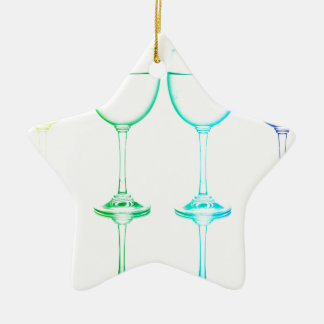 Colorful glasses in front of white background ceramic ornament