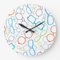Colorful glasses pattern large clock