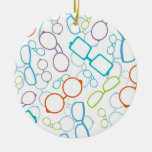 Colorful glasses pattern Double-Sided ceramic round christmas ornament