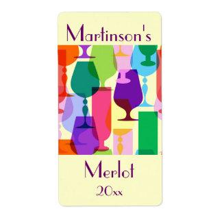 Colorful Glasses Wine Label