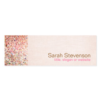 Colorful Glitter and Light Pink Linen Look Beauty Business Cards